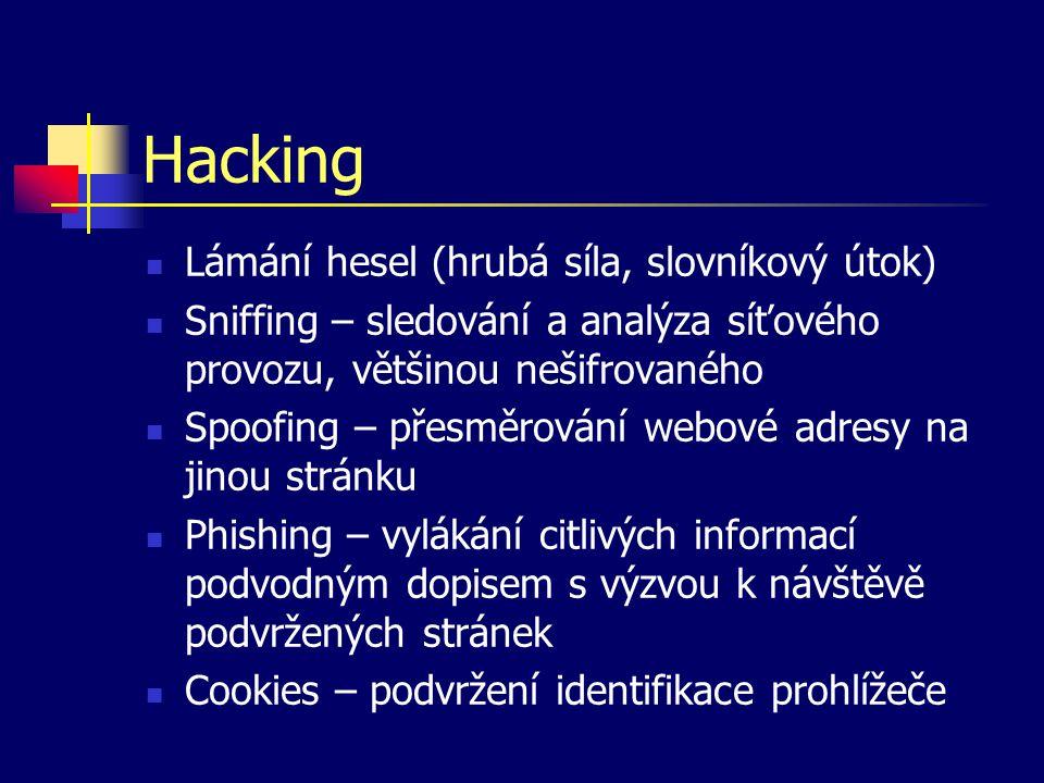 Hacking Lámání hesel (hrubá síla, slovníkový útok) Sniffing – sledování a analýza síťového provozu, většinou nešifrovaného Spoofing – přesměrování web
