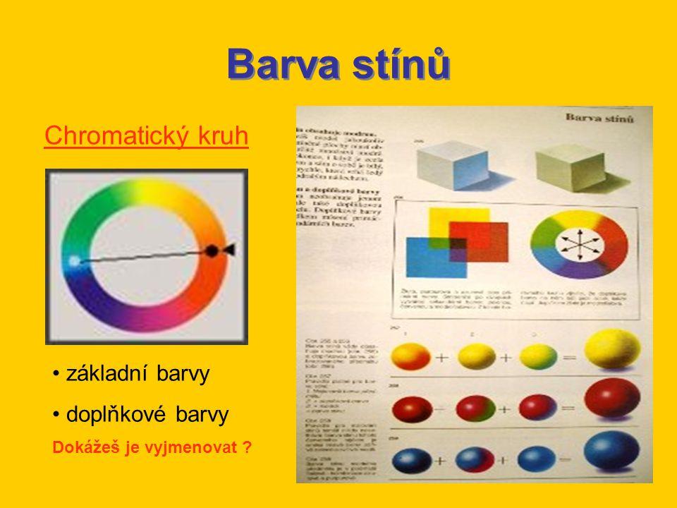 Barva stínů Chromatický kruh základní barvy doplňkové barvy Dokážeš je vyjmenovat ?