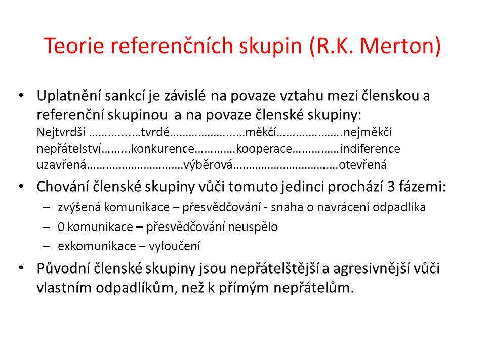 Teorie referenčních skupin (R.K. Merton) Uplatnění sankcí je závislé na povaze vztahu mezi členskou a referenční skupinou a na povaze členské skupiny: