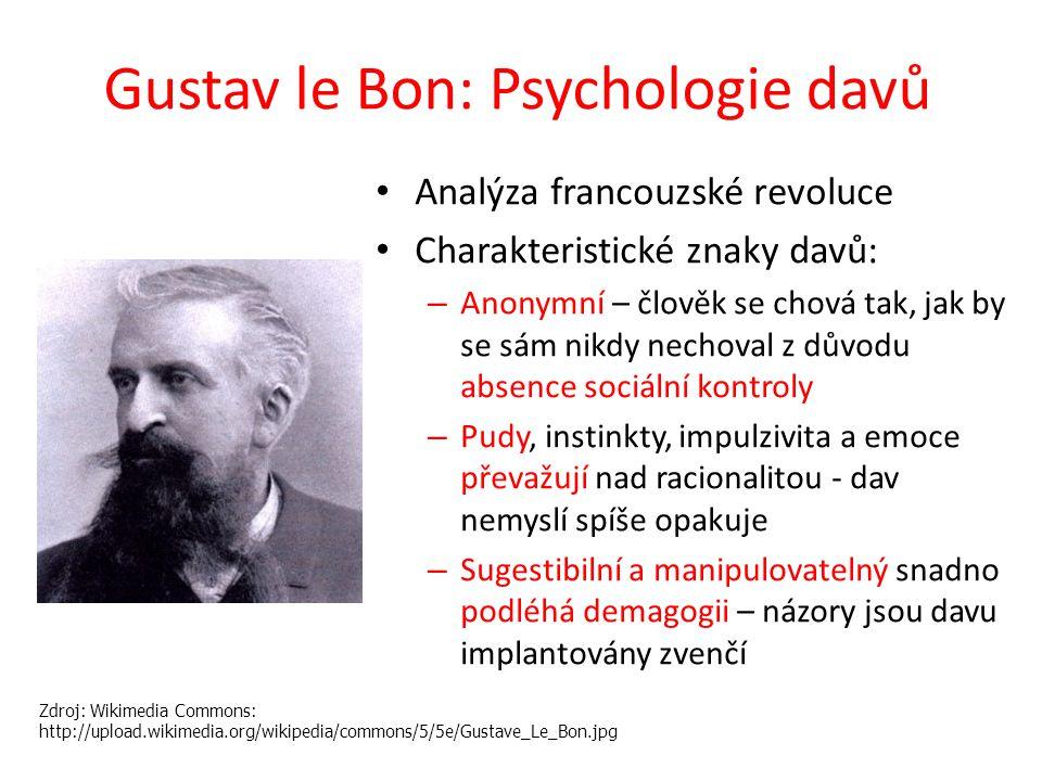 Gustav le Bon: Psychologie davů Analýza francouzské revoluce Charakteristické znaky davů: – Anonymní – člověk se chová tak, jak by se sám nikdy nechov