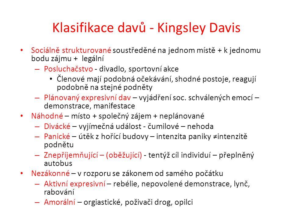 Klasifikace davů - Kingsley Davis Sociálně strukturované soustředěné na jednom místě + k jednomu bodu zájmu + legální – Posluchačstvo - divadlo, sport