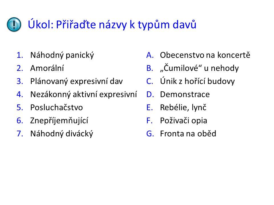 Úkol: Přiřaďte názvy k typům davů 1.Náhodný panický 2.Amorální 3.Plánovaný expresivní dav 4.Nezákonný aktivní expresivní 5.Posluchačstvo 6.Znepříjemňu