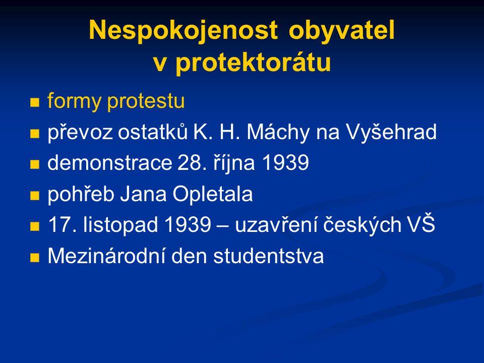Nespokojenost obyvatel v protektorátu formy protestu převoz ostatků K.