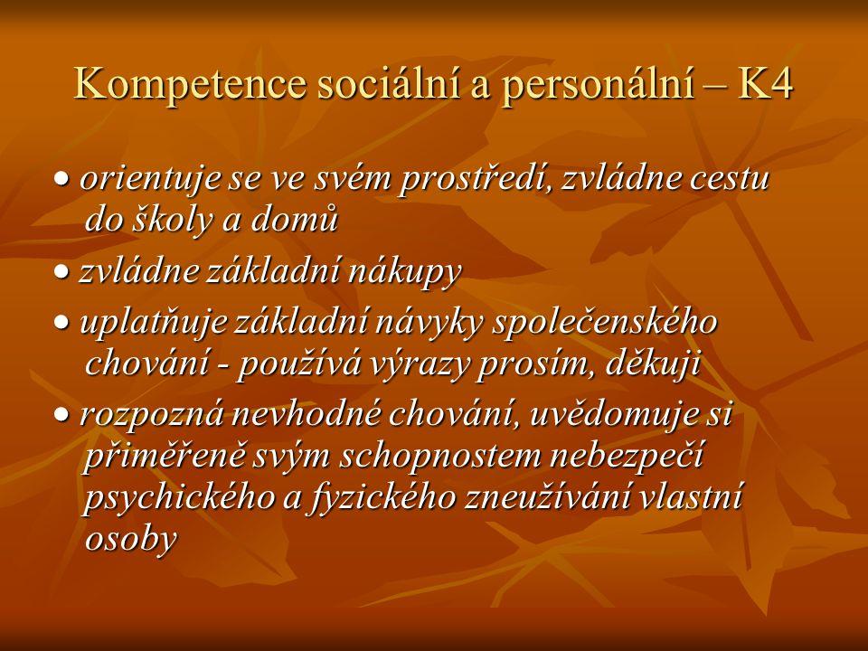 Kompetence sociální a personální – K4  orientuje se ve svém prostředí, zvládne cestu do školy a domů  zvládne základní nákupy  uplatňuje základní návyky společenského chování - používá výrazy prosím, děkuji  rozpozná nevhodné chování, uvědomuje si přiměřeně svým schopnostem nebezpečí psychického a fyzického zneužívání vlastní osoby