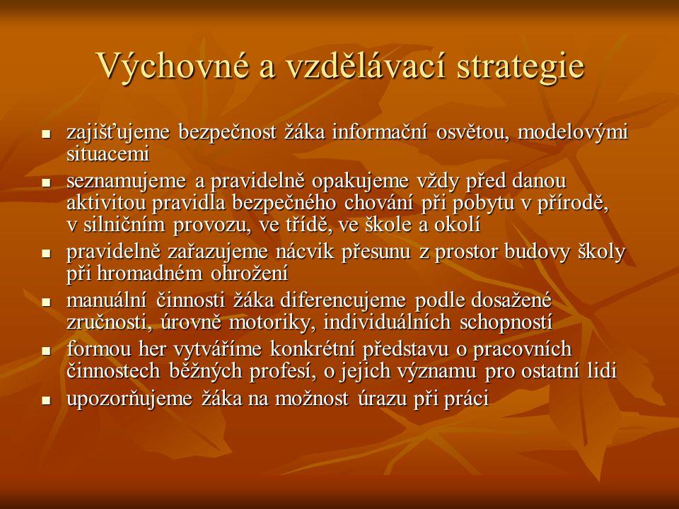Výchovné a vzdělávací strategie zajišťujeme bezpečnost žáka informační osvětou, modelovými situacemi zajišťujeme bezpečnost žáka informační osvětou, m