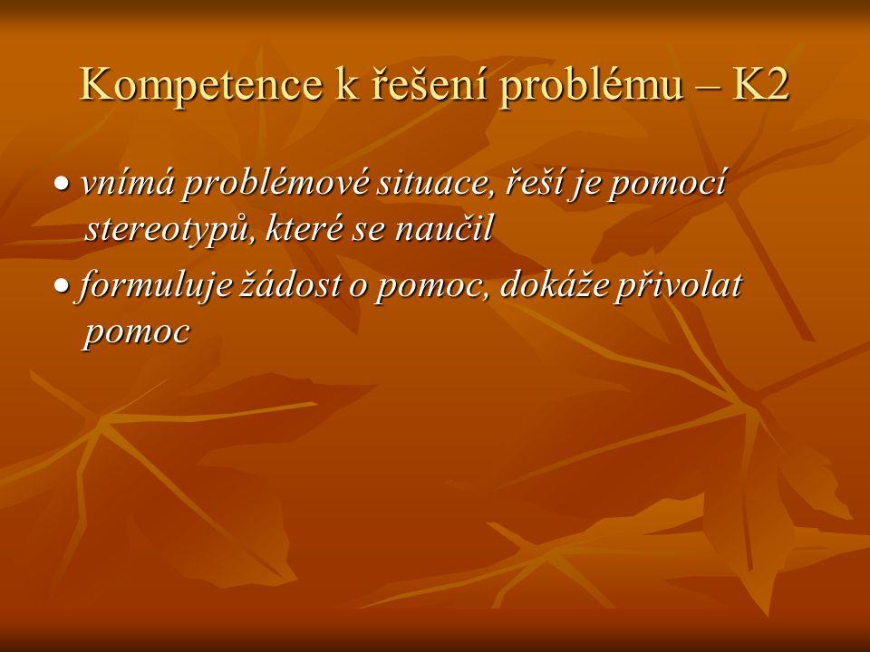 Kompetence k řešení problému – K2  vnímá problémové situace, řeší je pomocí stereotypů, které se naučil  formuluje žádost o pomoc, dokáže přivolat pomoc