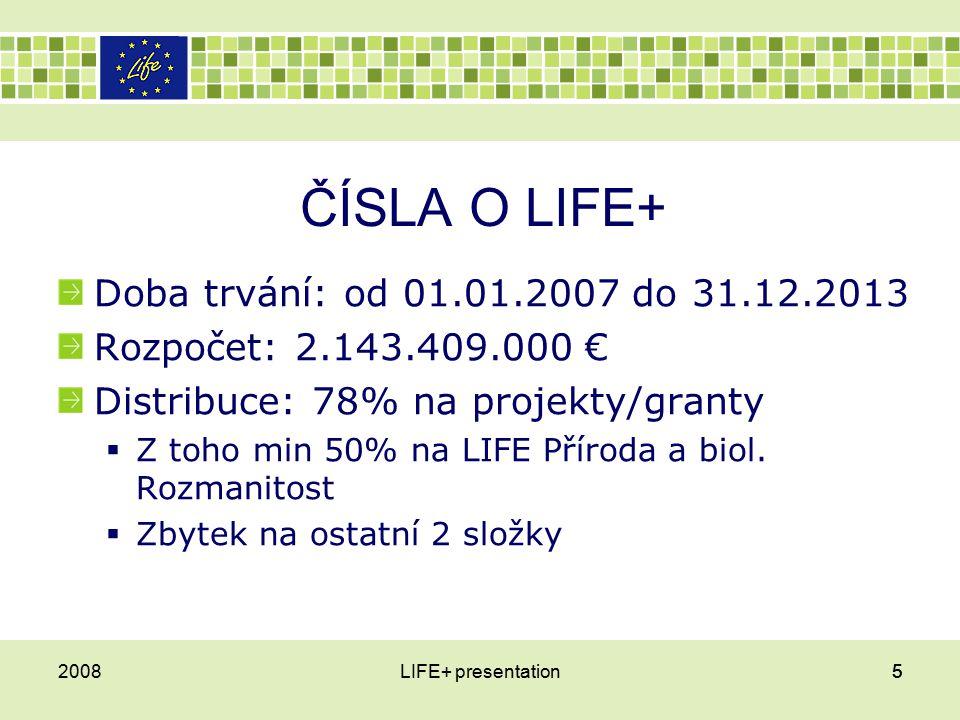 ČÍSLA O LIFE+ Doba trvání: od 01.01.2007 do 31.12.2013 Rozpočet: 2.143.409.000 € Distribuce: 78% na projekty/granty  Z toho min 50% na LIFE Příroda a biol.