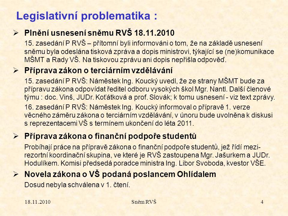 18.11.2010Sněm RVŠ4 Legislativní problematika :  Plnění usnesení sněmu RVŠ 18.11.2010 15. zasedání P RVŠ – přítomní byli informováni o tom, že na zák