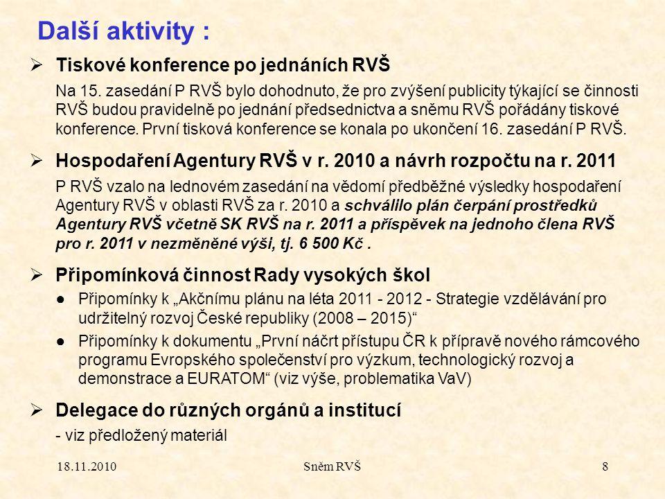 18.11.2010Sněm RVŠ8 Další aktivity :  Tiskové konference po jednáních RVŠ Na 15.
