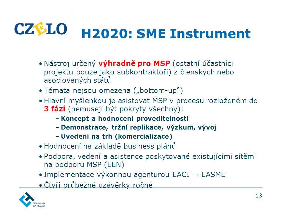 """H2020: SME Instrument Nástroj určený výhradně pro MSP (ostatní účastníci projektu pouze jako subkontraktoři) z členských nebo asociovaných států Témata nejsou omezena (""""bottom-up ) Hlavní myšlenkou je asistovat MSP v procesu rozloženém do 3 fází (nemusejí být pokryty všechny): –Koncept a hodnocení proveditelnosti –Demonstrace, tržní replikace, výzkum, vývoj –Uvedení na trh (komercializace) Hodnocení na základě business plánů Podpora, vedení a asistence poskytované existujícími sítěmi na podporu MSP (EEN) Implementace výkonnou agenturou EACI → EASME Čtyři průběžné uzávěrky ročně 13"""