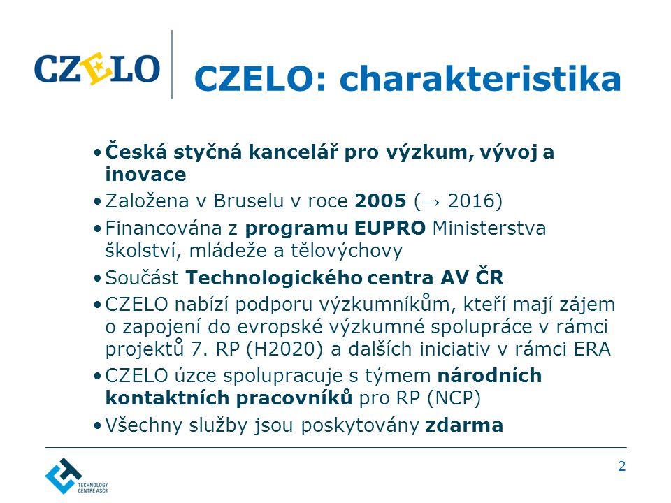 2 CZELO: charakteristika Česká styčná kancelář pro výzkum, vývoj a inovace Založena v Bruselu v roce 2005 ( → 2016) Financována z programu EUPRO Ministerstva školství, mládeže a tělovýchovy Součást Technologického centra AV ČR CZELO nabízí podporu výzkumníkům, kteří mají zájem o zapojení do evropské výzkumné spolupráce v rámci projektů 7.
