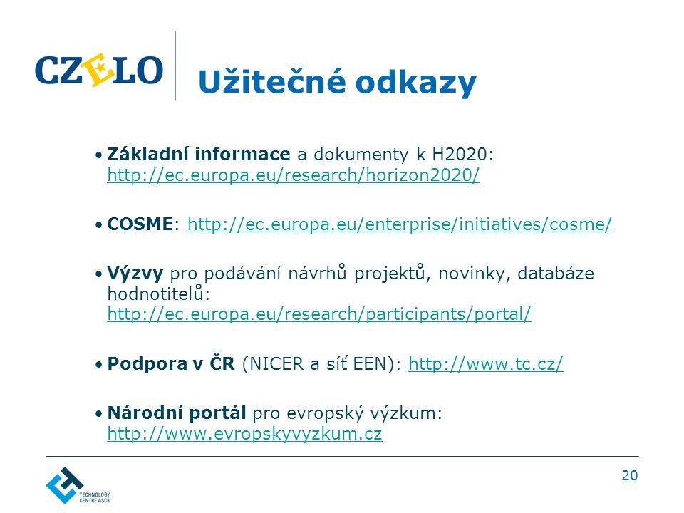 Užitečné odkazy Základní informace a dokumenty k H2020: http://ec.europa.eu/research/horizon2020/ http://ec.europa.eu/research/horizon2020/ COSME: http://ec.europa.eu/enterprise/initiatives/cosme/http://ec.europa.eu/enterprise/initiatives/cosme/ Výzvy pro podávání návrhů projektů, novinky, databáze hodnotitelů: http://ec.europa.eu/research/participants/portal/ http://ec.europa.eu/research/participants/portal/ Podpora v ČR (NICER a síť EEN): http://www.tc.cz/http://www.tc.cz/ Národní portál pro evropský výzkum: http://www.evropskyvyzkum.cz http://www.evropskyvyzkum.cz 20