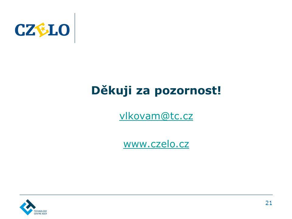 Děkuji za pozornost! vlkovam@tc.cz www.czelo.cz 21