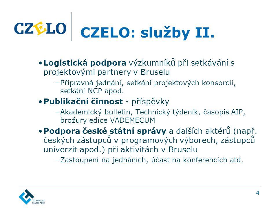 4 CZELO: služby II. Logistická podpora výzkumníků při setkávání s projektovými partnery v Bruselu –Přípravná jednání, setkání projektových konsorcií,