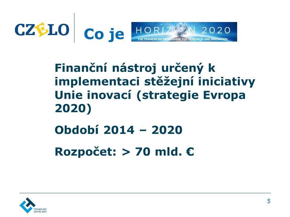 Co je Finanční nástroj určený k implementaci stěžejní iniciativy Unie inovací (strategie Evropa 2020) Období 2014 – 2020 Rozpočet: > 70 mld. € 5