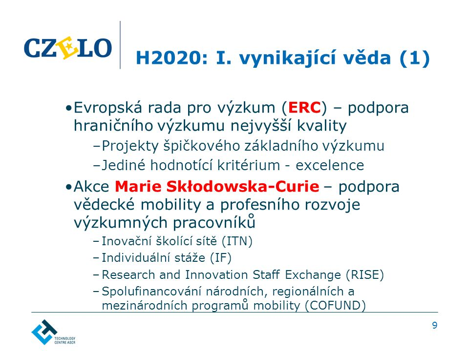 H2020: I. vynikající věda (1) Evropská rada pro výzkum (ERC) – podpora hraničního výzkumu nejvyšší kvality –Projekty špičkového základního výzkumu –Je