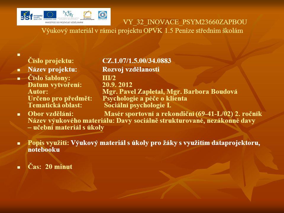 VY_32_INOVACE_PSYM23660ZAPBOU Výukový materiál v rámci projektu OPVK 1.5 Peníze středním školám Číslo projektu:CZ.1.07/1.5.00/34.0883 Název projektu:R