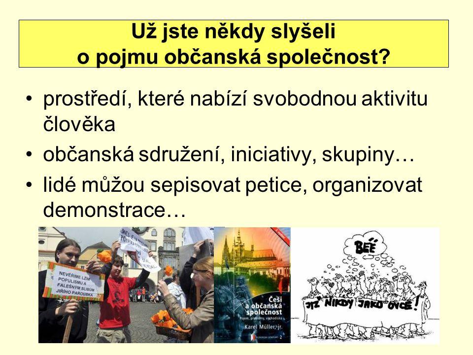 prostředí, které nabízí svobodnou aktivitu člověka občanská sdružení, iniciativy, skupiny… lidé můžou sepisovat petice, organizovat demonstrace… Už jste někdy slyšeli o pojmu občanská společnost?
