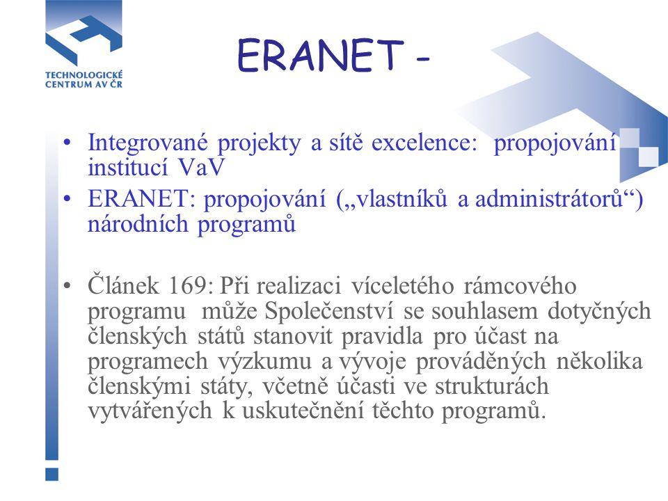 """ERANET - Integrované projekty a sítě excelence: propojování institucí VaV ERANET: propojování (""""vlastníků a administrátorů ) národních programů Článek 169: Při realizaci víceletého rámcového programu může Společenství se souhlasem dotyčných členských států stanovit pravidla pro účast na programech výzkumu a vývoje prováděných několika členskými státy, včetně účasti ve strukturách vytvářených k uskutečnění těchto programů."""