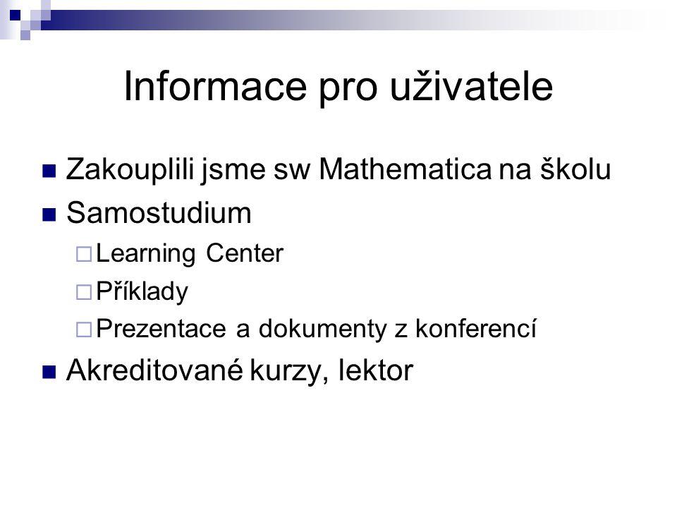 Informace pro uživatele Zakouplili jsme sw Mathematica na školu Samostudium  Learning Center  Příklady  Prezentace a dokumenty z konferencí Akredit