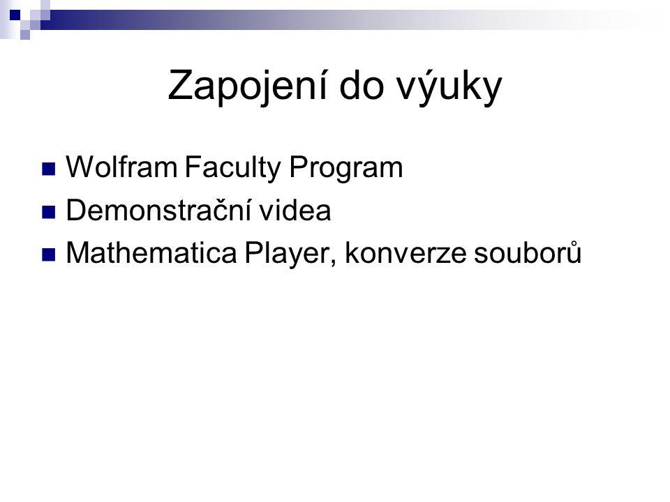 Zapojení do výuky Wolfram Faculty Program Demonstrační videa Mathematica Player, konverze souborů