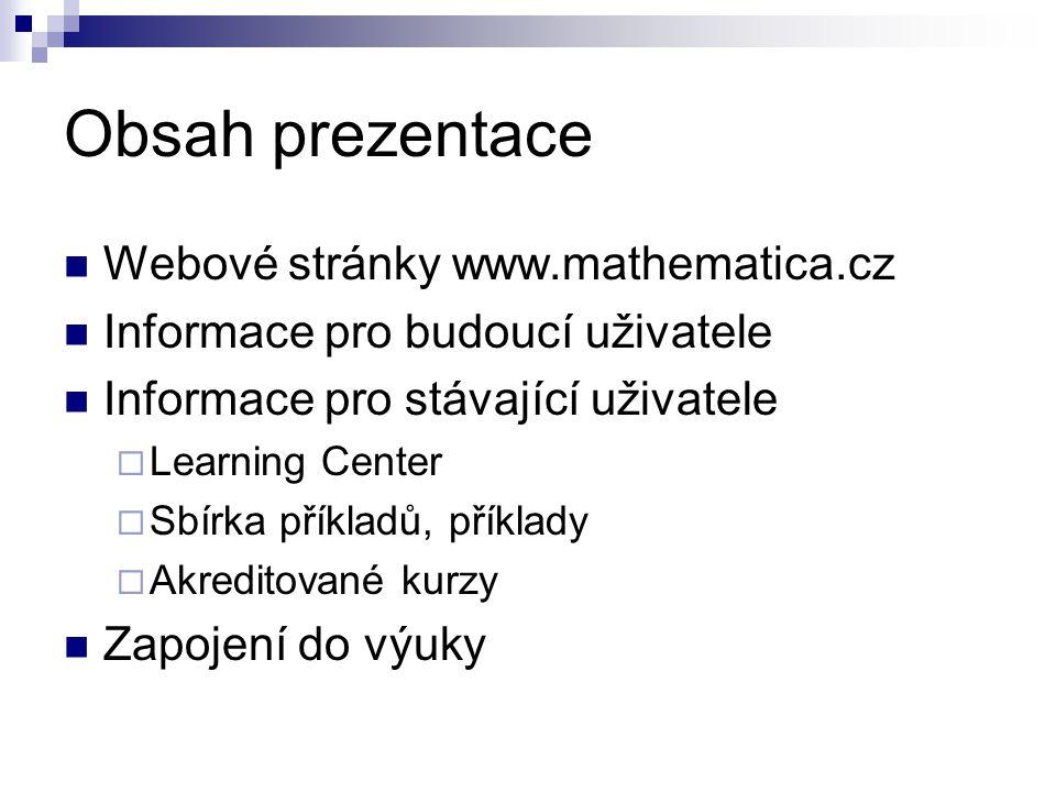 Obsah prezentace Webové stránky www.mathematica.cz Informace pro budoucí uživatele Informace pro stávající uživatele  Learning Center  Sbírka příkla