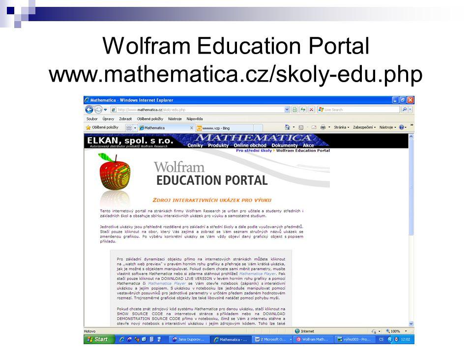 Wolfram Education Portal www.mathematica.cz/skoly-edu.php