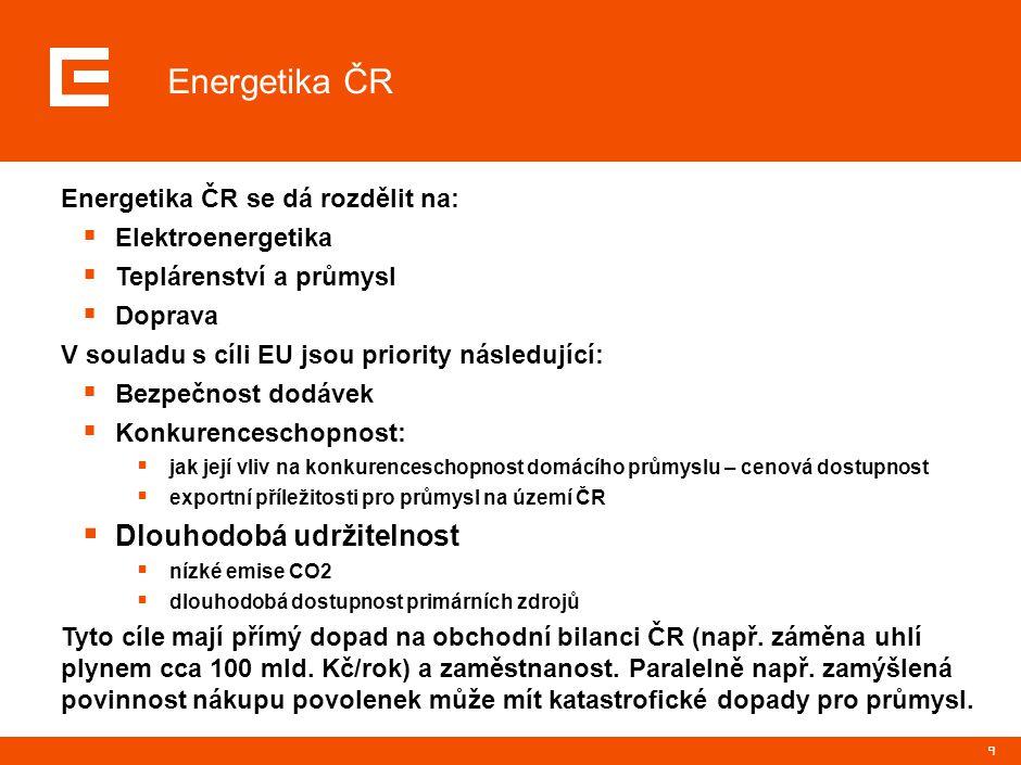 9 Energetika ČR se dá rozdělit na:  Elektroenergetika  Teplárenství a průmysl  Doprava V souladu s cíli EU jsou priority následující:  Bezpečnost