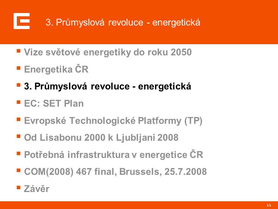 11  Vize světové energetiky do roku 2050  Energetika ČR  3. Průmyslová revoluce - energetická  EC: SET Plan  Evropské Technologické Platformy (TP