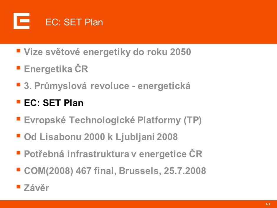 13  Vize světové energetiky do roku 2050  Energetika ČR  3. Průmyslová revoluce - energetická  EC: SET Plan  Evropské Technologické Platformy (TP