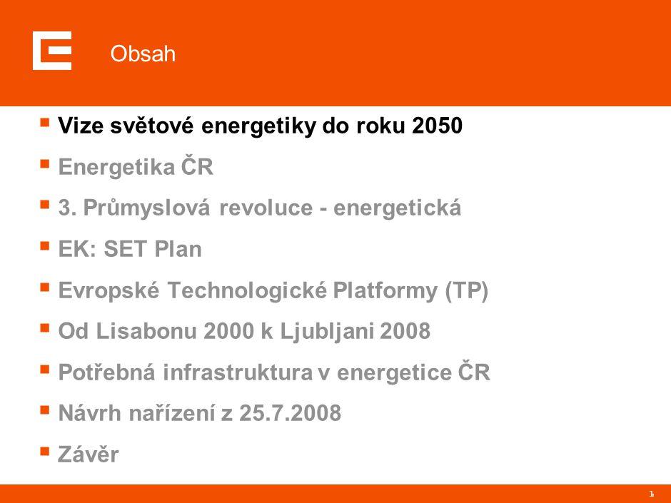 1  Vize světové energetiky do roku 2050  Energetika ČR  3. Průmyslová revoluce - energetická  EK: SET Plan  Evropské Technologické Platformy (TP)
