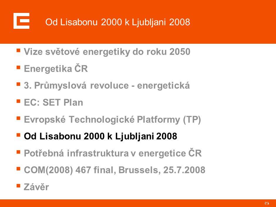 21  Vize světové energetiky do roku 2050  Energetika ČR  3. Průmyslová revoluce - energetická  EC: SET Plan  Evropské Technologické Platformy (TP