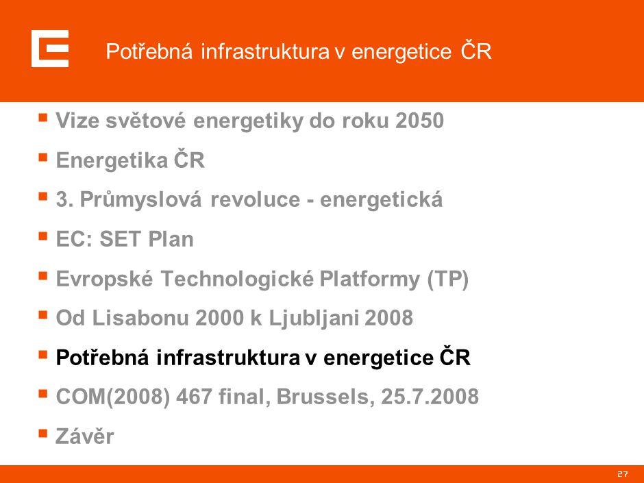 27  Vize světové energetiky do roku 2050  Energetika ČR  3. Průmyslová revoluce - energetická  EC: SET Plan  Evropské Technologické Platformy (TP