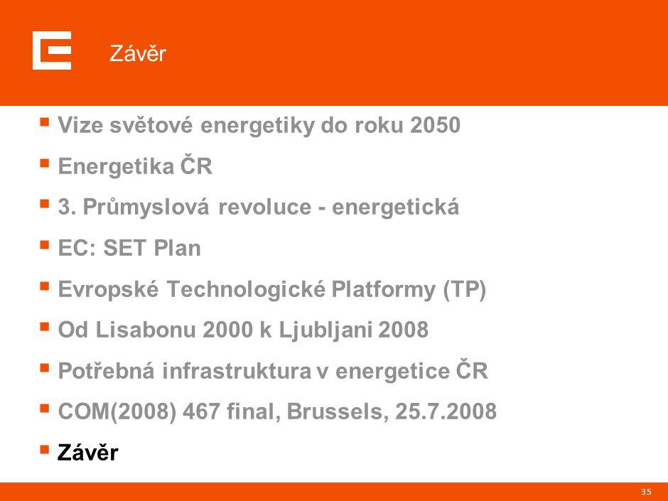 35 Závěr  Vize světové energetiky do roku 2050  Energetika ČR  3. Průmyslová revoluce - energetická  EC: SET Plan  Evropské Technologické Platfor