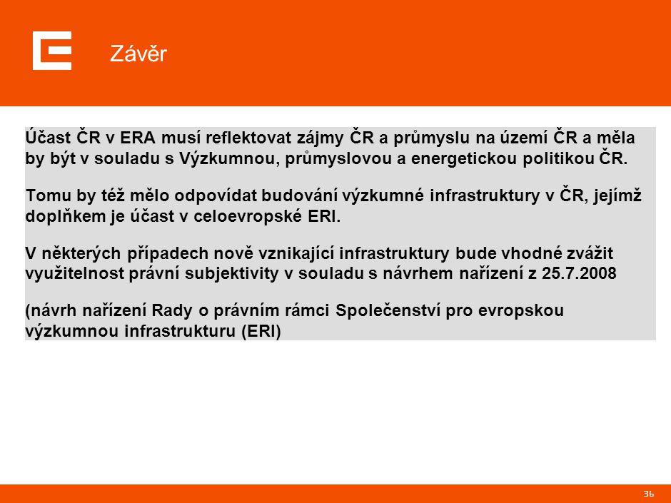 36 Účast ČR v ERA musí reflektovat zájmy ČR a průmyslu na území ČR a měla by být v souladu s Výzkumnou, průmyslovou a energetickou politikou ČR. Tomu