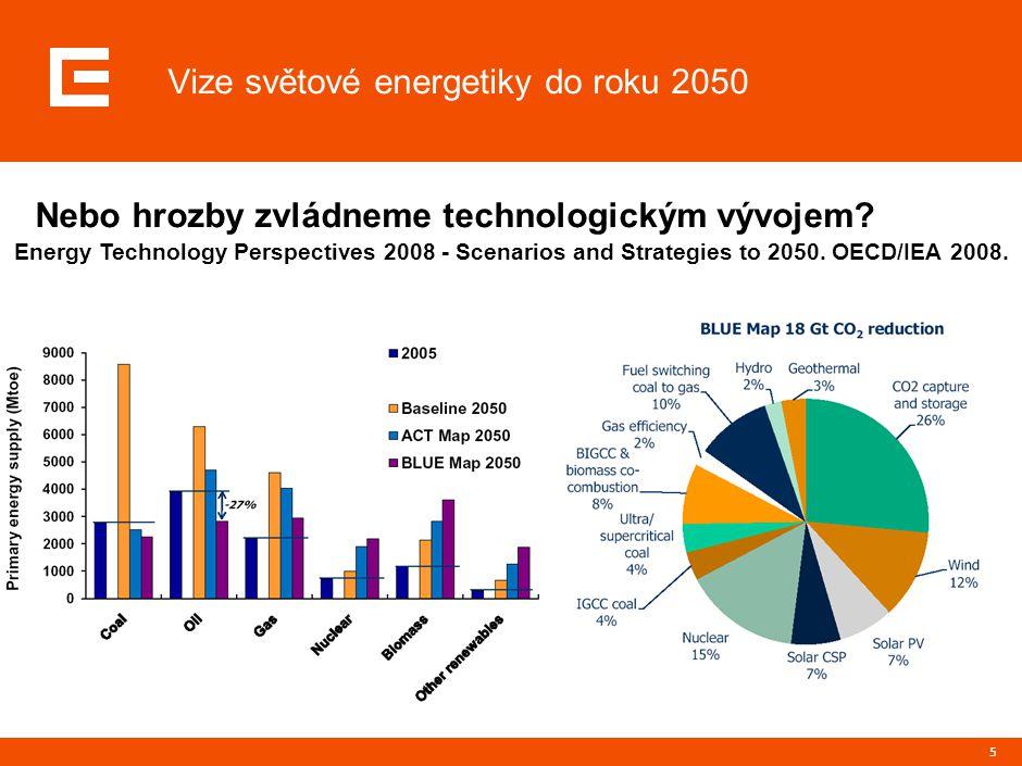 5 Nebo hrozby zvládneme technologickým vývojem? Vize světové energetiky do roku 2050 Energy Technology Perspectives 2008 - Scenarios and Strategies to