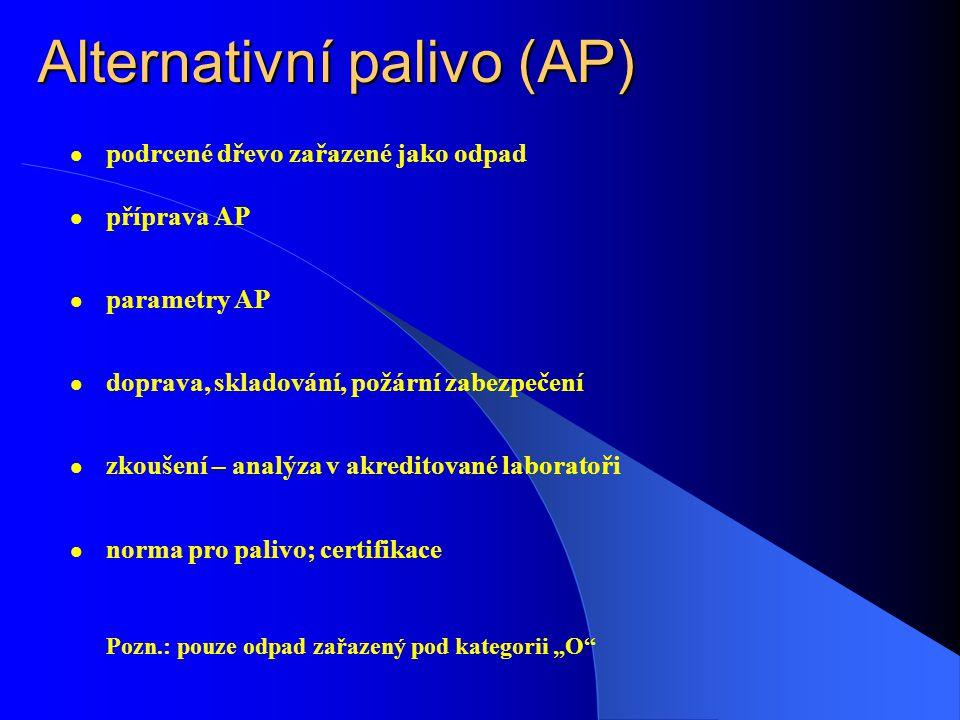 """Alternativní palivo (AP) podrcené dřevo zařazené jako odpad příprava AP parametry AP doprava, skladování, požární zabezpečení zkoušení – analýza v akreditované laboratoři norma pro palivo; certifikace Pozn.: pouze odpad zařazený pod kategorii """"O"""