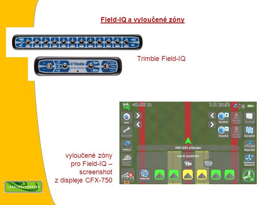 vyloučené zóny pro Field-IQ – screenshot z displeje CFX-750 Field-IQ a vyloučené zóny Trimble Field-IQ