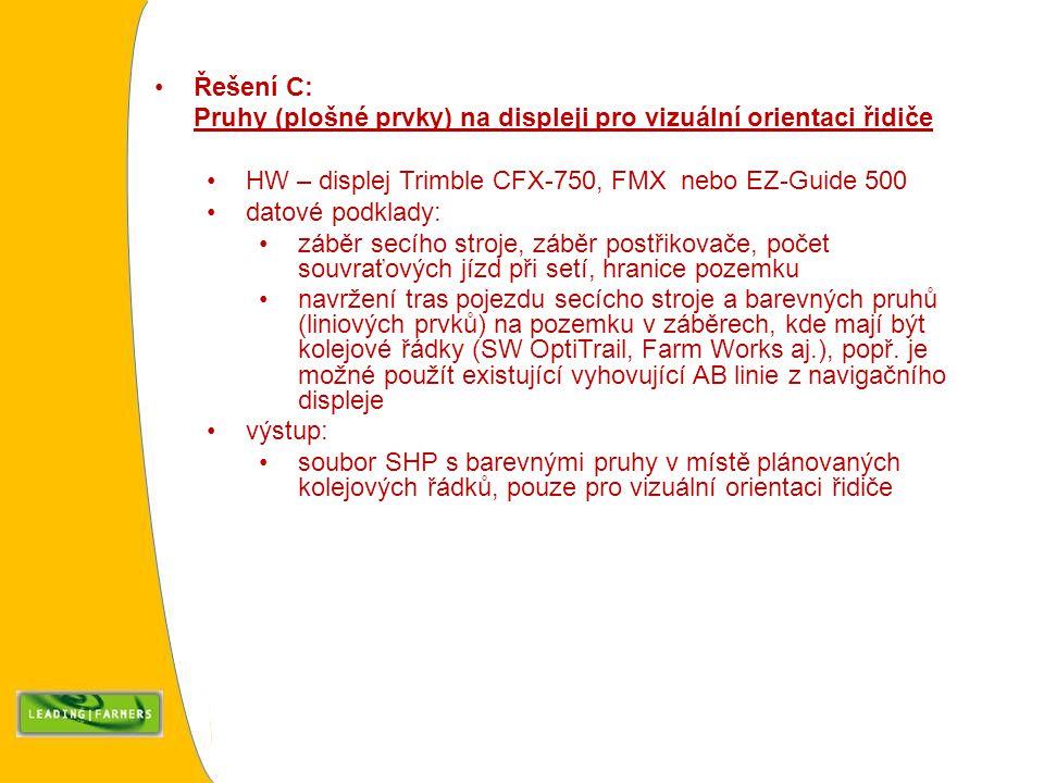 Řešení C: Pruhy (plošné prvky) na displeji pro vizuální orientaci řidiče HW – displej Trimble CFX-750, FMX nebo EZ-Guide 500 datové podklady: záběr se