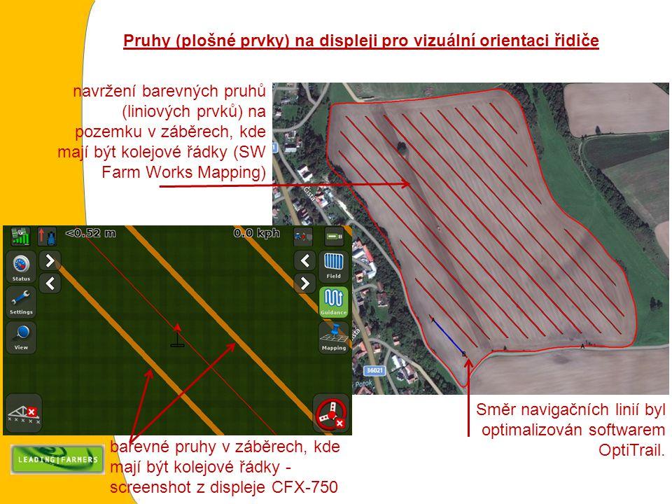 Pruhy (plošné prvky) na displeji pro vizuální orientaci řidiče navržení barevných pruhů (liniových prvků) na pozemku v záběrech, kde mají být kolejové řádky (SW Farm Works Mapping) barevné pruhy v záběrech, kde mají být kolejové řádky - screenshot z displeje CFX-750 Směr navigačních linií byl optimalizován softwarem OptiTrail.