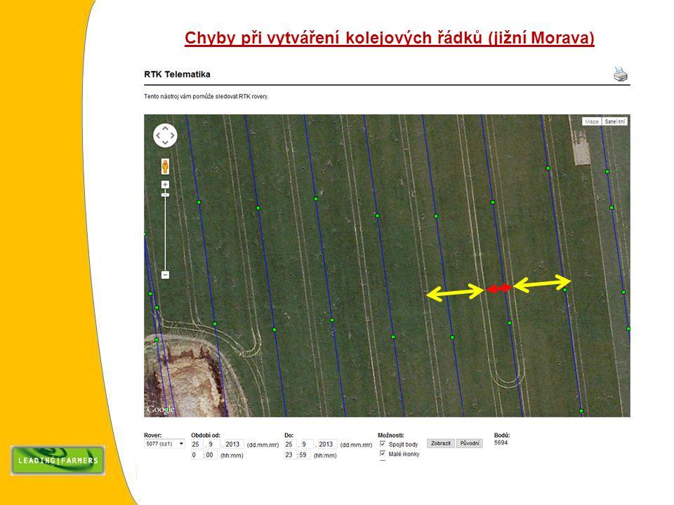 Chyby při vytváření kolejových řádků (jižní Morava)