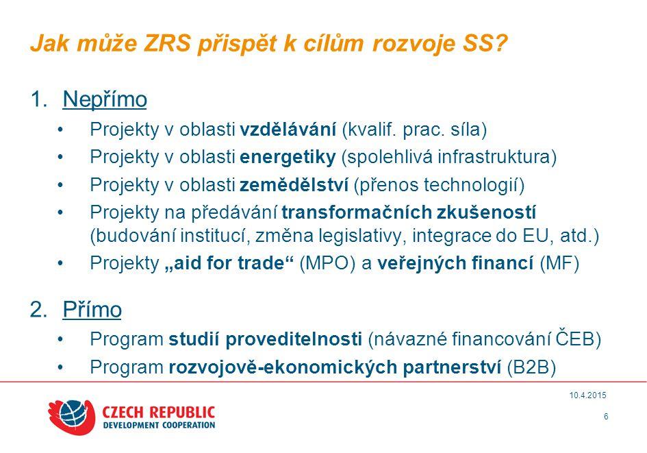 6 10.4.2015 Jak může ZRS přispět k cílům rozvoje SS.
