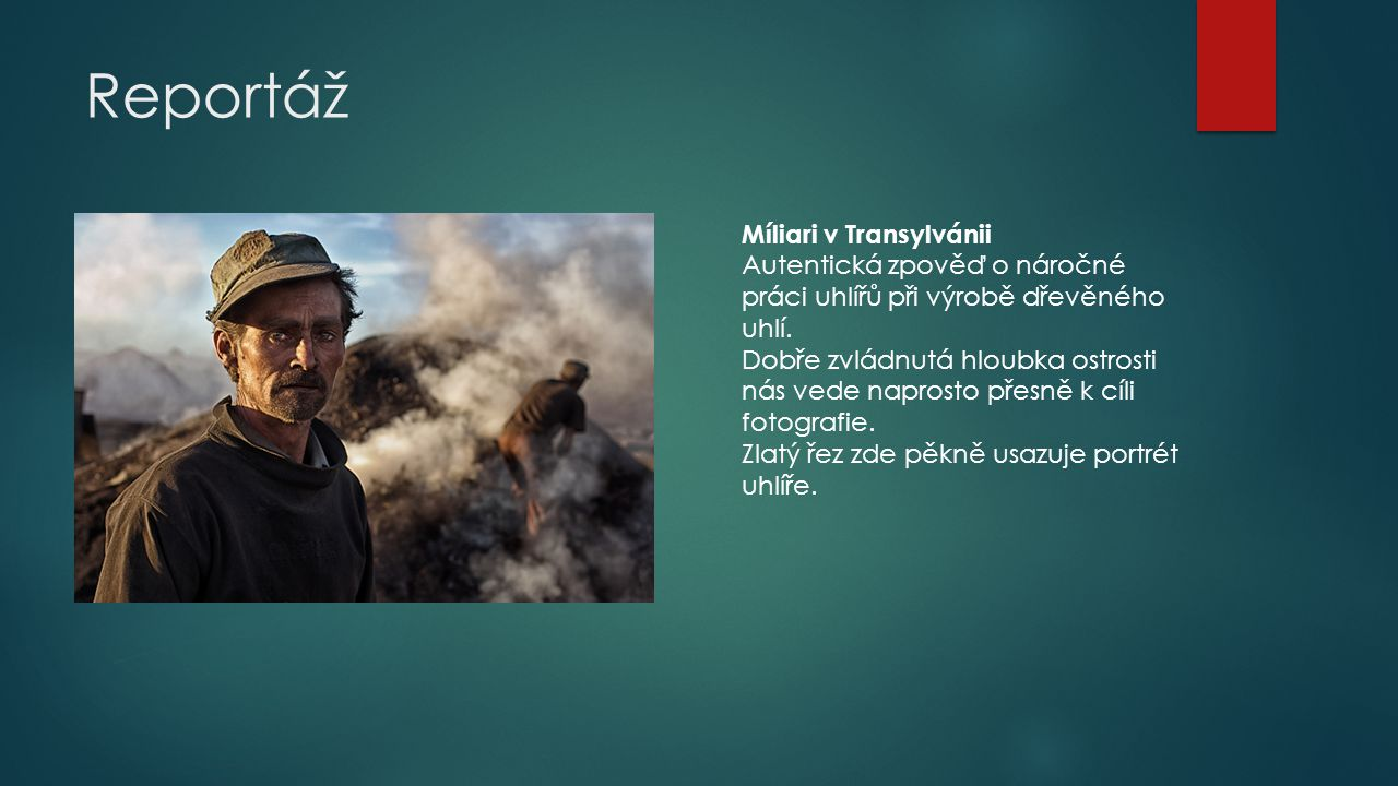 Reportáž Míliari v Transylvánii Autentická zpověď o náročné práci uhlířů při výrobě dřevěného uhlí. Dobře zvládnutá hloubka ostrosti nás vede naprosto
