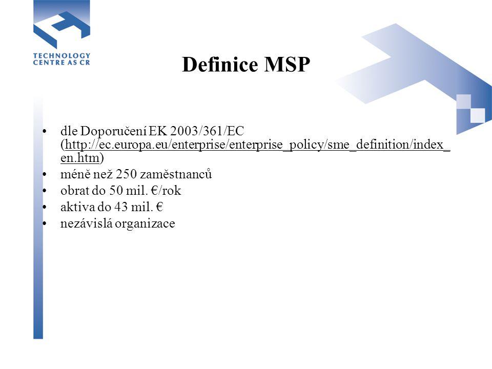 Definice MSP dle Doporučení EK 2003/361/EC (http://ec.europa.eu/enterprise/enterprise_policy/sme_definition/index_ en.htm)http://ec.europa.eu/enterprise/enterprise_policy/sme_definition/index_ en.htm méně než 250 zaměstnanců obrat do 50 mil.