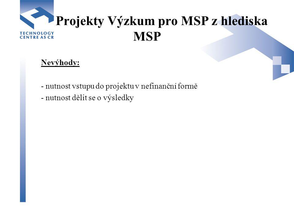 Projekty Výzkum pro MSP z hlediska MSP Nevýhody: - nutnost vstupu do projektu v nefinanční formě - nutnost dělit se o výsledky