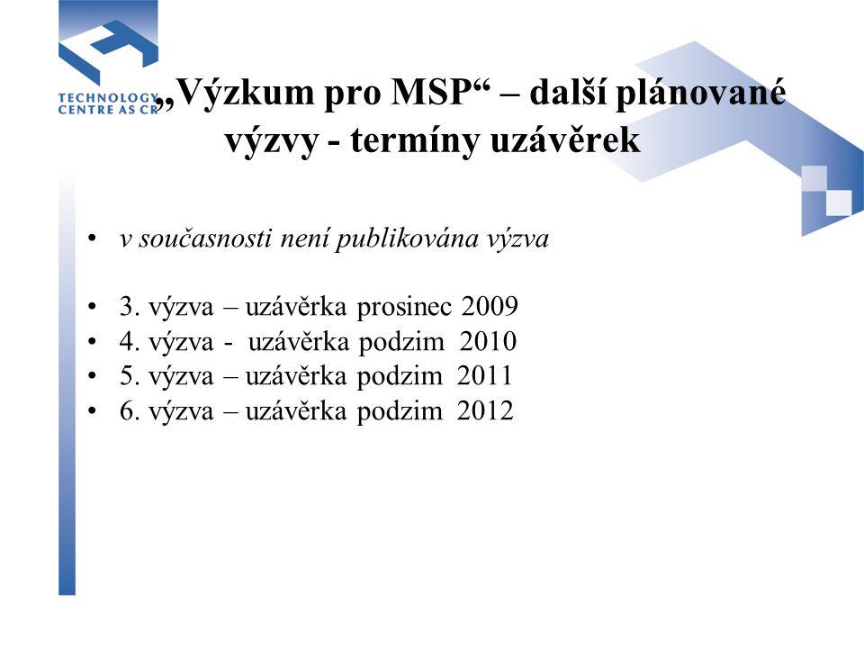 """"""" Výzkum pro MSP – další plánované výzvy - termíny uzávěrek v současnosti není publikována výzva 3."""