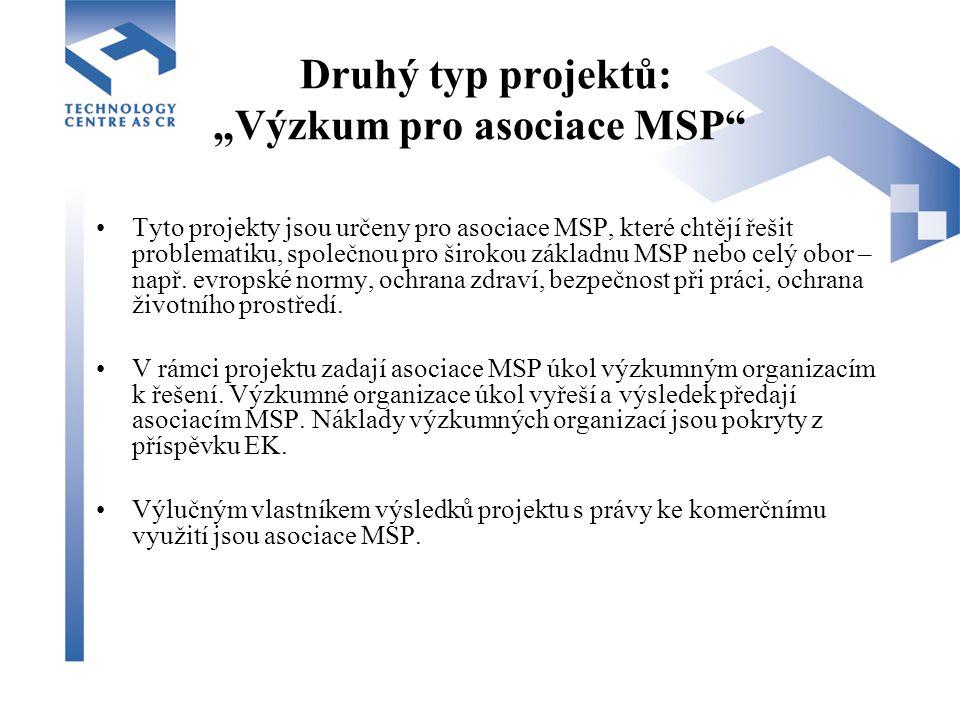 """Druhý typ projektů: """"Výzkum pro asociace MSP Tyto projekty jsou určeny pro asociace MSP, které chtějí řešit problematiku, společnou pro širokou základnu MSP nebo celý obor – např."""