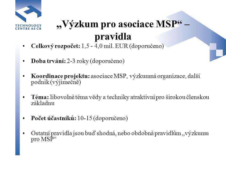 """"""" Výzkum pro asociace MSP – pravidla Celkový rozpočet: 1,5 - 4,0 mil."""