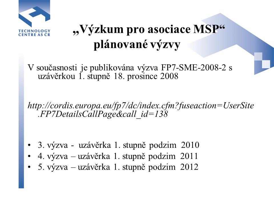 """"""" Výzkum pro asociace MSP plánované výzvy V současnosti je publikována výzva FP7-SME-2008-2 s uzávěrkou 1."""