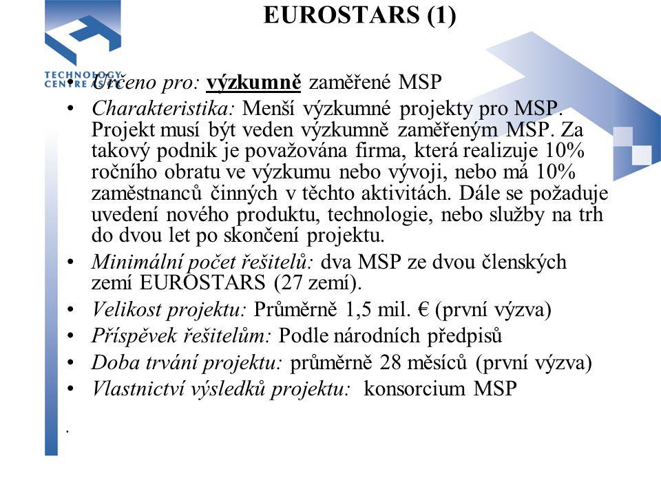 EUROSTARS (1) Určeno pro: výzkumně zaměřené MSP Charakteristika: Menší výzkumné projekty pro MSP.